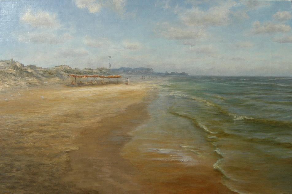 Пляж. Море. Картина маслом. Живопись. В.Бурцева.