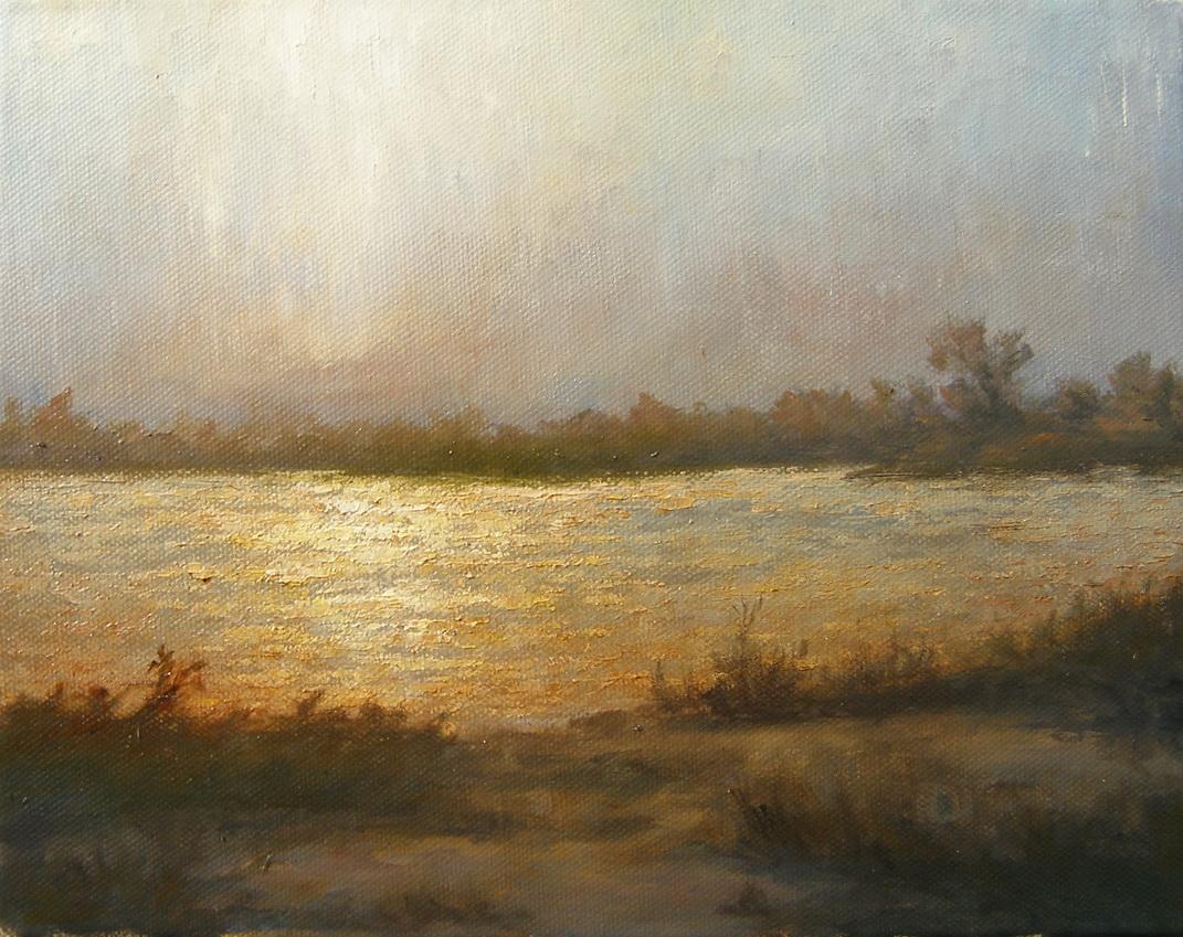 Река в лучах солнца. Этюд. Живопись. В.Бурцева.